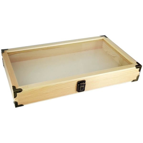 Ikee Design Natural Wooden Color Glass Top Jewelry Display Case