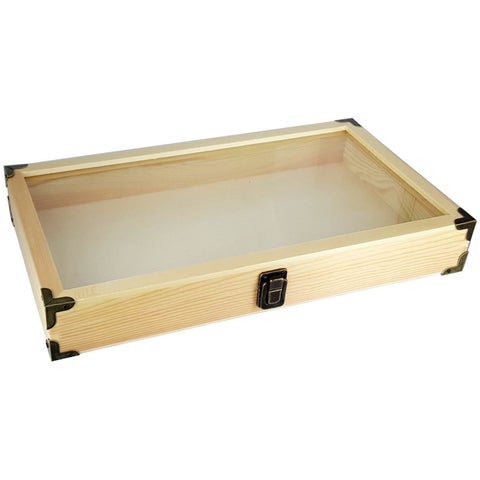 Ikee Design Natural Wooden Color Glass Top Jewelry Display Case Accessories Storage Box With Brass C