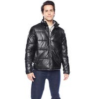 Kenneth Cole Men's Full Zip Up with Snap Closure Collar and Sleeve Puffer Jacket