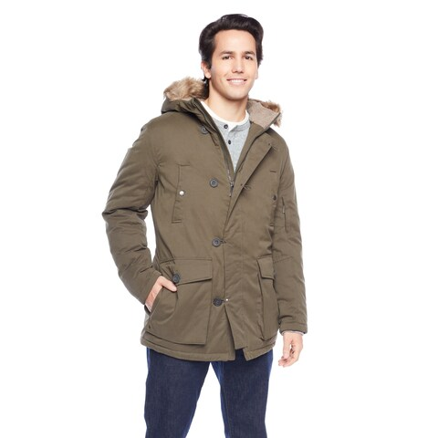 Kenneth Cole Men's Full Zip-Up and Button Closure with Flap Pockets and Faux Fur Hood Jacket