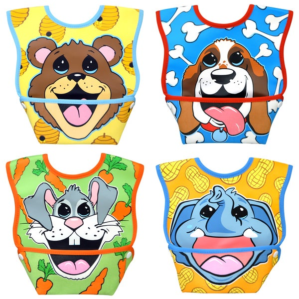 Dexbaby Big Mouth Small Waterproof Dura-Bib 4-Pack (Puppy, Elephant, Bear Cub, Bunny)