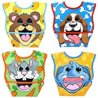 Dexbaby Big Mouth Small Waterproof Dura-Bib 4-Pack (Puppy, Elephant, Bear Cub, Bunny)