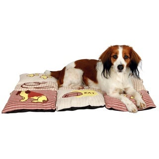 Patchwork Red/Beige Quilted Pet Bed