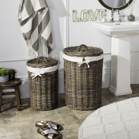 "Safavieh Millen Rattan Round Laundry Baskets (Set Of 2) - 16.9"" x 16.9"" x 25.5"""