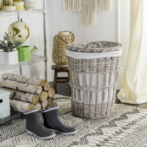 Safavieh Maggy White Wash Storage Hamper With Liner