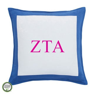 Southern Tide Chino Zeta Tau Alpha Monogrammed Feather and Down Filled Decorative Pillow 16-inch