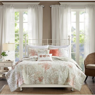 Madison Park Abrego Coral 6-piece Cotton Sateen Coverlet Set