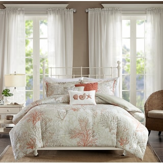 Madison Park Abrego Coral 6 Piece Cotton Sateen Duvet Cover Set
