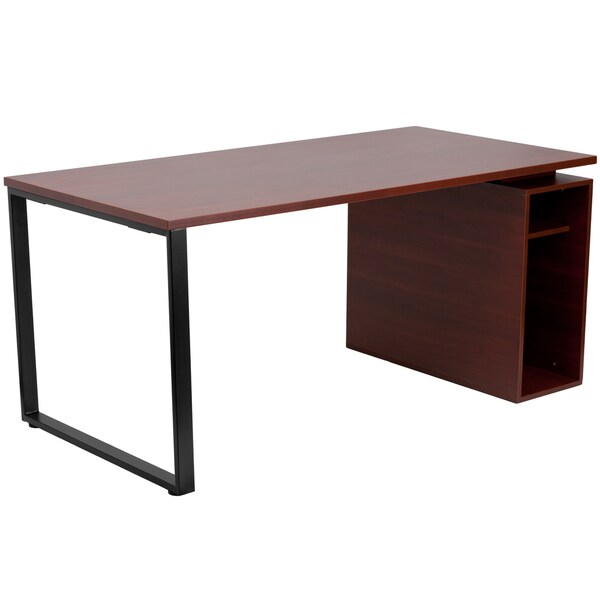 Shop Heila Mahogany Computer Desk With Open Storage Pedestal   Free  Shipping Today   Overstock   16341735