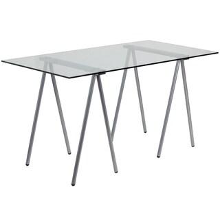 Fara Glass Computer Desk with Silver Frame