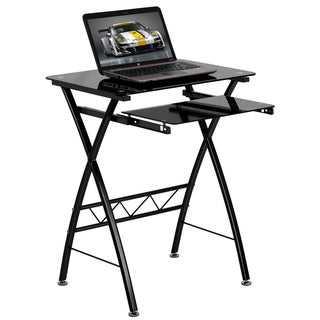 Tana Black Tempered Glass Computer Desk with Pull-out Keyboard Tray