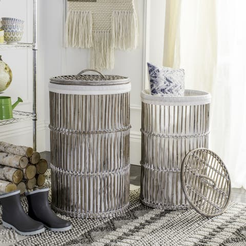 "Safavieh Libby White Wash Rattan Storage Hamper With Liner - 17.7"" x 17.7"" x 29.5"""