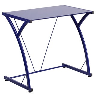 Tiro Blue-tempered Glass Computer Desk with Matching Frame