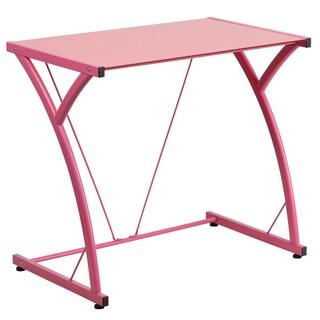 Tiro Pink Tempered Glass Metal Computer Desk