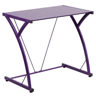 Tiro Purple Tempered Glass Computer Desk with Matching Frame