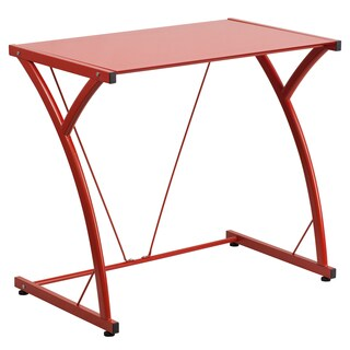 Tiro Red Metal and Tempered Glass Computer Desk