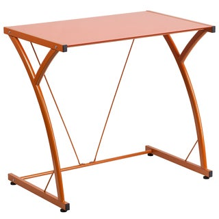 Tiro Orange Tempered Glass Computer Desk with Matching Frame