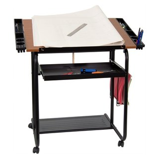 Rozar Adjustable Drawing and Drafting Table with Pull Out Tray and Side Organizing Compartments