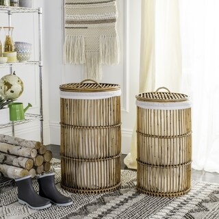 Safavieh Libby Honey Rattan Storage Hamper With Liner