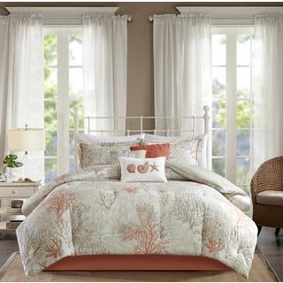 Madison Park Abrego Coral 7 Piece Cotton Sateen Comforter Set