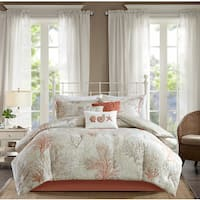 Madison Park Abrego Coral 7 Piece Cotton Sateen Comforter Set