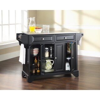 LaFayette Black Wood Stainless Steel Top Kitchen Island
