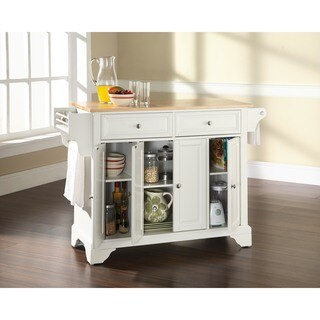 LaFayette White Finish Natural Wood Top Kitchen Island