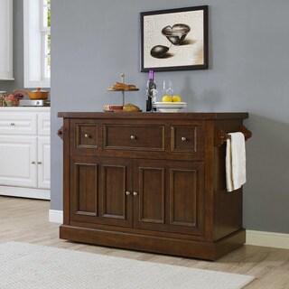 Crosley Furniture Sienna Rustic Mahogany Wood Large Kitchen Island