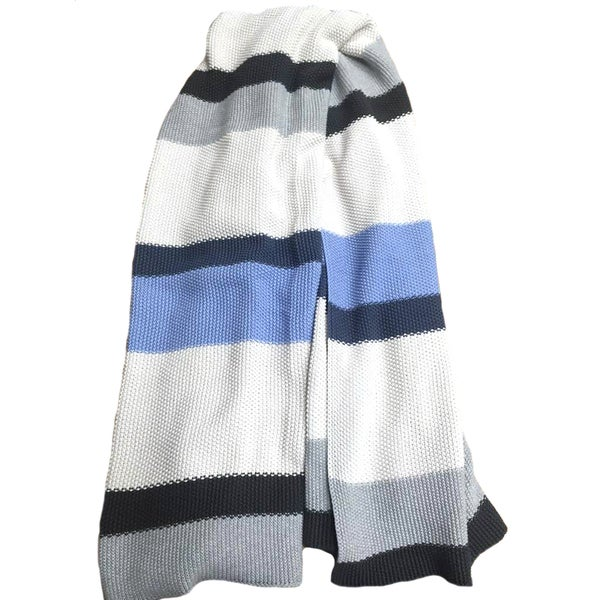 Rayure Collection Super Soft Cotton Striped Throw Blanket by Pink Lemonade
