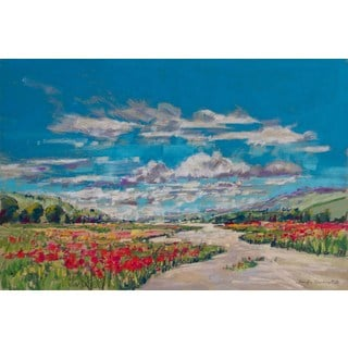'Poppy Path V' Painting Print on Wrapped Canvas