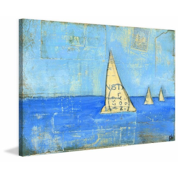 'Sailboat IV' Painting Print on Wrapped Canvas - Blue