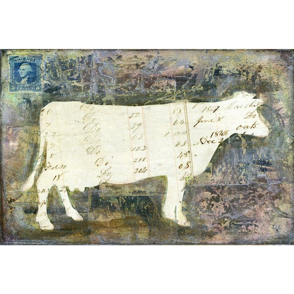 'Cow' Painting Print on Wrapped Canvas - White