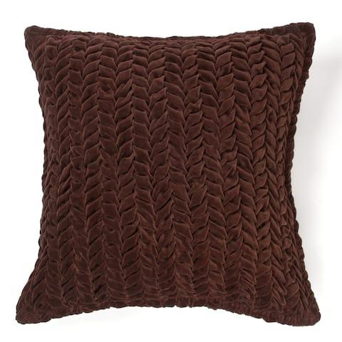 Allie Brown Cotton Velvet Decorative Throw Pillow 20-inch