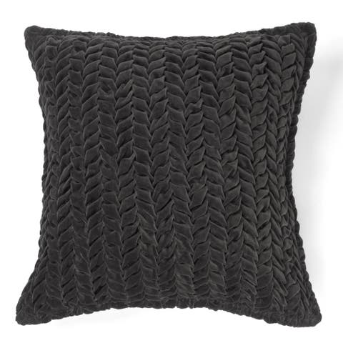 Allie Charcoal Cotton Velvet Decorative Throw Pillow 20-inch