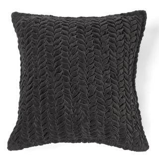 Allie Charcoal Cotton Velvet Decorative Throw Pillow 20-inch