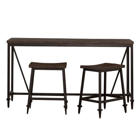 Hillsdale Furniture Trevino Distressed Walnut Finish Wood Counter Height Table (3-piece Set) - N/A
