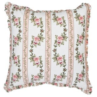 Cottage Home Annie Pink Stripe Floral Decorative Throw Pillow