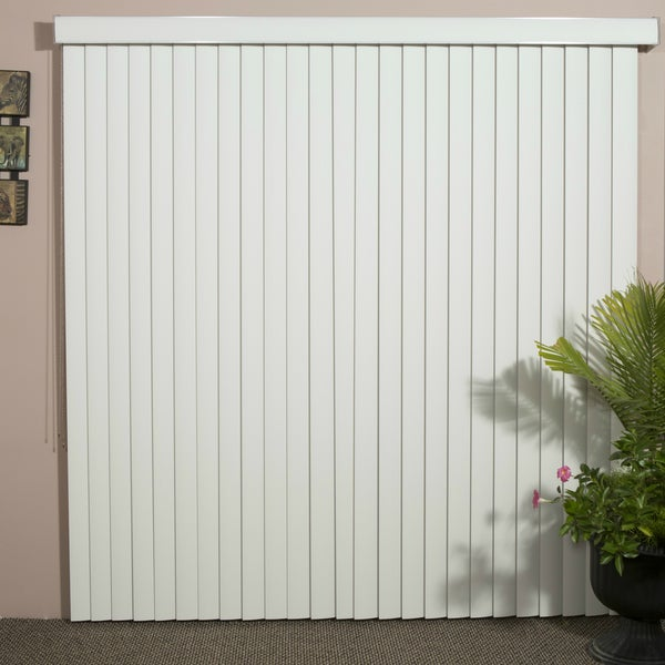 Solid White Smooth Vinyl Veritical Blind, 84 inches Long x 36 to 98 inches Wide