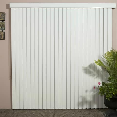 """White Solid Vinyl Vertical Blind, 84"""" L x 36"""" to 98"""" W, CORDLESS"""