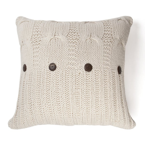 Michaela Natural Knitted Decorative Pillow. Opens flyout.