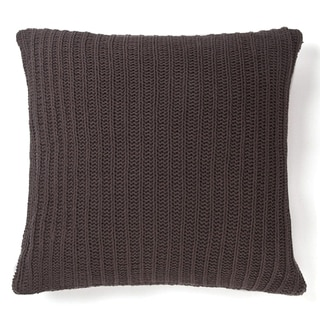 Cottage Home Sammy Grey Cotton 20-inch Knitted Decorative Pillow