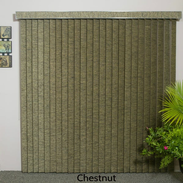"Chestnut Fabric Vertical Blind, 84"" L x 36"" to 98"" W, CORDLESS"