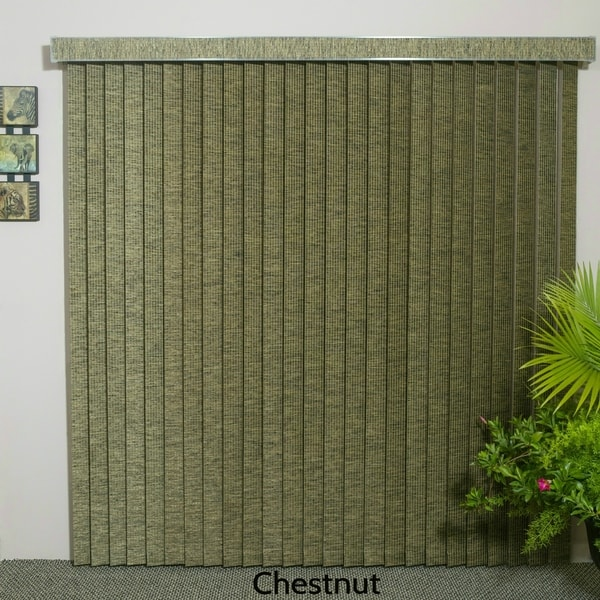 """Chestnut Fabric Vertical Blind, 60"""" L x 36"""" to 98"""" W, CORDLESS"""