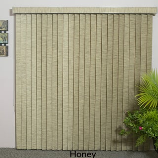 """Honey Fabric Vertical Blind, 98"""" L x 36"""" to 98"""" W, CORDLESS"""