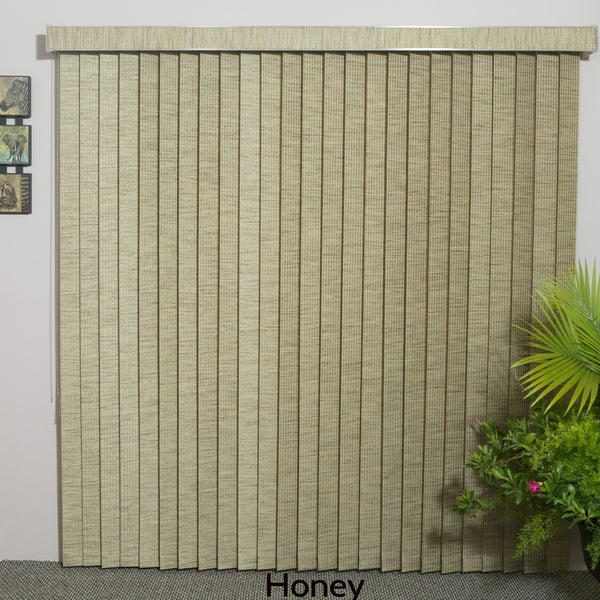"""Honey Fabric Vertical Blind, 60"""" L x 36"""" to 98"""" W, CORDLESS"""