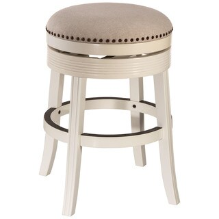 Havenside Home Perry White Wood Backless Swivel Counter Stool