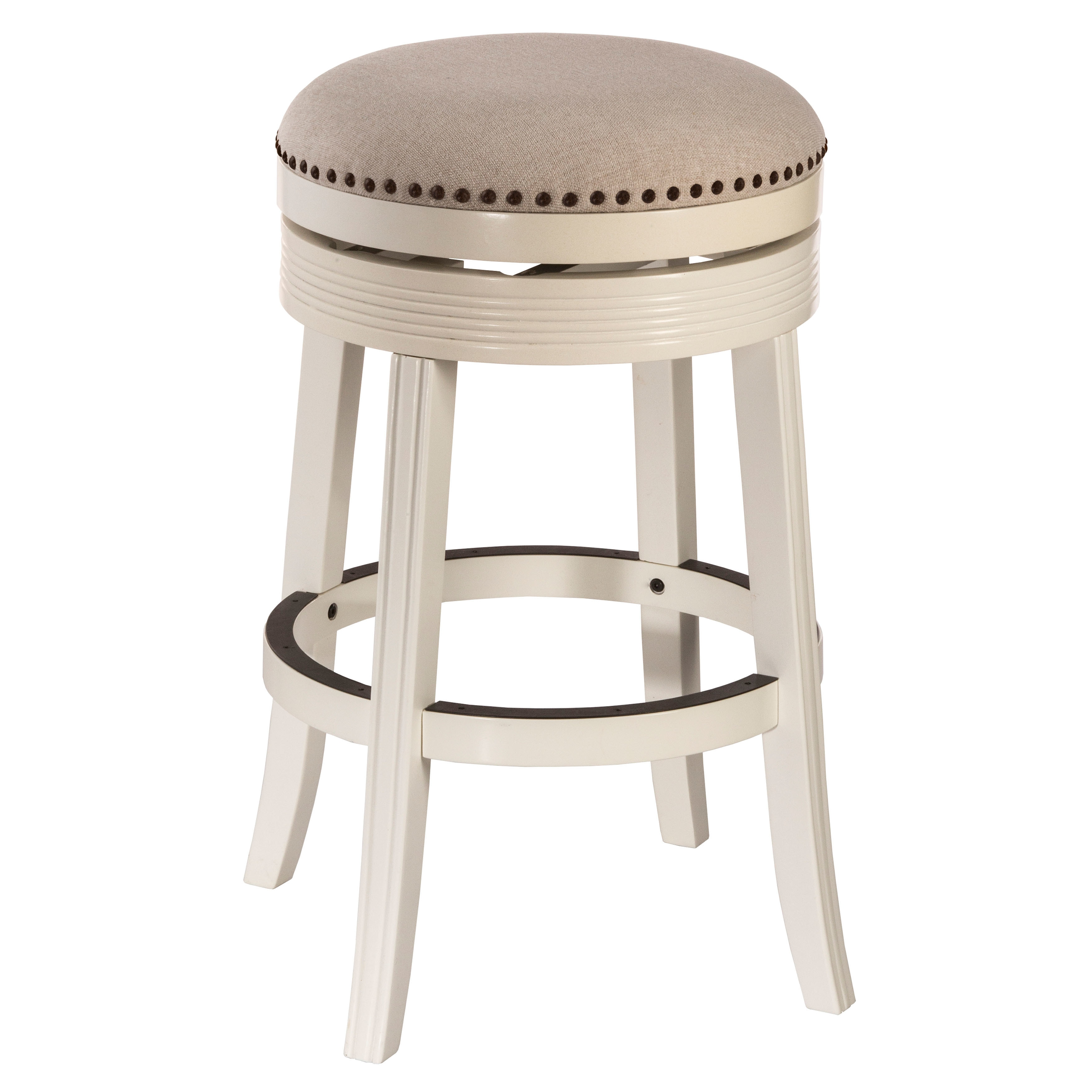 hillsdale furniture tillman white finished wood backless swivel bar stool ebay. Black Bedroom Furniture Sets. Home Design Ideas