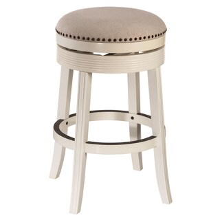 Havenside Home Perry White Finished Wood Backless Swivel Bar Stool