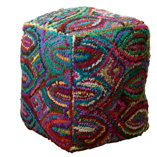 LR Home Multicolored Ikat Indoor Pouf Ottoman
