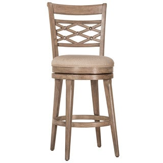 Hillsdale Furniture Chesney Weathered Grey Wood Fabric Swivel Bar Stool
